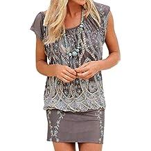 vestido boho - Gris - Amazon.es