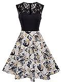HOMEYEE Damen Elegant Spitze Rundhalsausschnitt Ärmel Mesh-A-Linie Kleid UKA008 (EU 42 (Herstellergroesse: XL), Weiß)