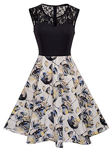 HOMEYEE Damen Elegant Spitze Rundhalsausschnitt Ärmel Mesh-A-Linie Kleid UKA008 (EU 44 (Herstellergroesse: XXL), Weiß)