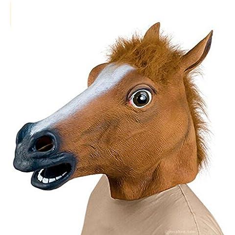 Da.Wa Mascherata Cavallo Mascherare Costume Festa Cavallo Testa Mascherare Marrone Halloween