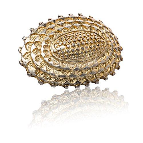 FREDERIC HERMANO Gürtelschnalle Buckle 35mm Metall Gold Antik - Buckle Tortuga - Dornschliesse Für Gürtel Mit 3,5cm Breite - Goldfarben Antik