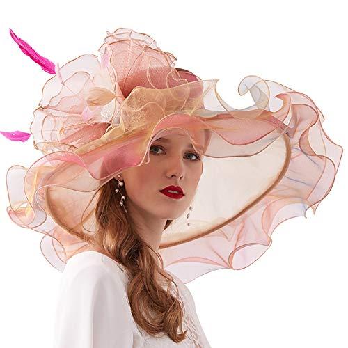 Hüte Derby Kostüm - Weiyani Elegante Organzahut Hut Fascinator Kopfbedeckung Damen Sonnenhüte Für Royal Ascot, Kann Die Größe Anpassen,D
