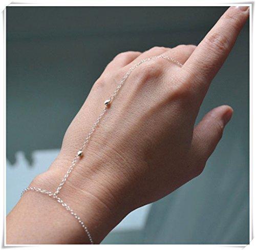 Silber Ring-Armband mit kleiner Perlen/DAINTY Finger - Silber-armband-finger-ring