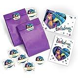 6 Einladungskarten zum Kindergeburtstag für Mädchen Einhorn / Unicorn / zwei Einhörner / Einladungen incl. Umschläge, Party-Tüten, Aufkleber