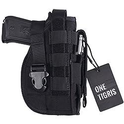 OneTigris Etui/Holster à Pistolet MOLLE Tactique Militaire Avec Porte Chargeur Pour 1911 45 92 96 Glock (Noir - Droitiers)