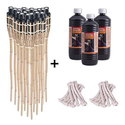 DXP 18x Gartenfackel Bambus Bambusfackeln 90cm mit 3x 1 Liter geruchsloses Lampenöl und 18x Ersatzdochte