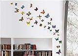 ufengke 81 Pz Farfalle Danzanti Colorate Adesivi Murali, Camera da Letto Soggiorno Adesivi da Parete Removibili/Stickers Murali/Decorazione Murale