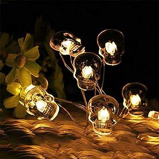 sakj-d Kupferdraht String Transparente Schädel Lampe String Urlaub Lampe Batterie Box LED Kupferdraht Festival Dekoration, 20L 2M