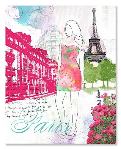 Kleister Art Collective City Girl Paris von Natalie Alexander Leinwand Wand Art, 18by 24