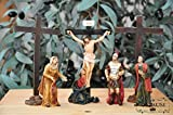 KREUZWEG Station 11-1 Kreuzigung, Jesus wird ans Kreuz genagelt, mit 3 Kreuzen und Figuren nach Mt 27,37-42,- Passion Christi - für 9-10 cm Figuren, ideal als Krippenfiguren-Zubehörset für Passionskrippen, Weihnachtskrippe, Kreuzweg- und Ölbaum-Weihnachtskrippen