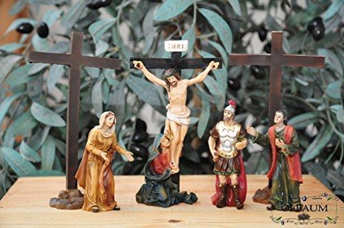 Weihnachtskrippe-krippenfiguren, Beleuchtung* Station 11-1 Kreuzigung, Jesus wird ans Kreuz genagelt, mit 3 Kreuzen und Figuren nach Mt 27,37-42,- Passion Christi - für 9-10 cm Figuren, Figur-Krippenfiguren für Passionskrippe und Weihnachtskrippe - hochwertige ÖLBAUM-Passionsfiguren: 40 einzigartige Stationen, Fastenzeit von Aschermittwoch bis Ostern Deko, Auferstehung Jesus von Nazareth (Licht Bis Jesus Bild)