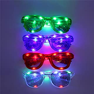 Acmee Pack of 4 ,assorted colors LED Glasses, LED shades, LED flashing sunglasses for rave party