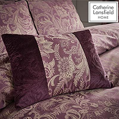 Catherine Lansfield Regal Jacquard Filled Cushion Plum, 30x40cm