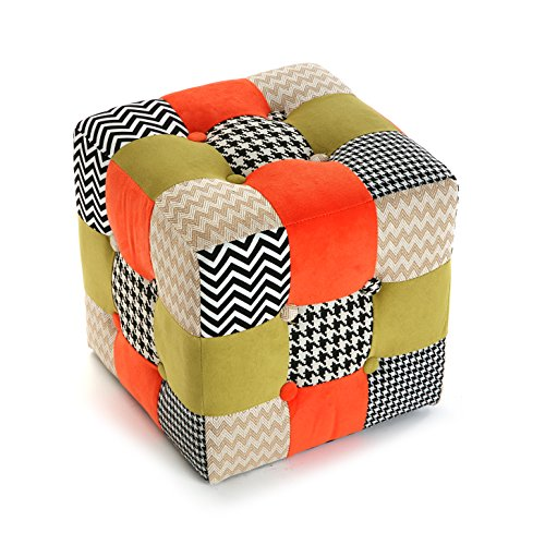 Versa 19500852 Taburete Cubo Puff Asiento Houndst. Patchwork,35x35x35,Multicolor