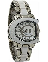 Cerruti 1881Diamond Lady reloj 33x 30mm dos tono plateado y blanco cerámica