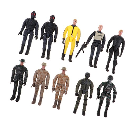 Baoblaze 10pcs Miniatur Militär Armee Soldaten Action Figuren Set für Kinder (Armee-action-figuren)