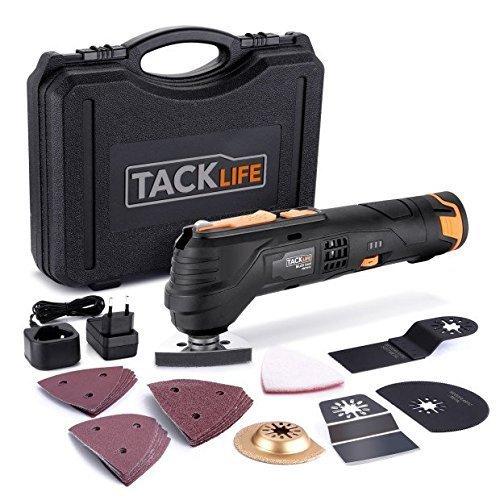 feinsaege elektrisch Multifunktionswerkzeug-Tacklife PMT01B Oszillierendes Werkzeug,6 Geschwindigkeiten und Schnellwechselfutter,12V, 2.0Ah Akku, LED-Licht und Koffer,zum Schleifen,Schneiden und Polieren,mit 24 Zubehör