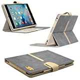 Apple iPad Mini 4 Suede Leather Folio Case by Gorilla Tech® Executive Quality Detachable Shell for Holding iPad With Stand, Buckle and Card Slots Grey Suede