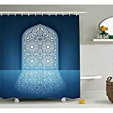 yeuss arabischen Decor Kollektion, Türen von Antiken Old Mosque Grace Faith Thema Islamische Eid Ethnic Illustration Print Polyester-,-Badezimmer Dusche Vorhang Set mit Haken, dark petrol blau 152,4 x 182,9 cm, 66