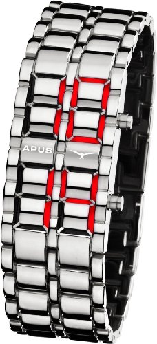 APUS Zeta Ladies Silver Red LED Uhr für Sie Design Highlight