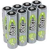 ANSMANN Akku AA 1,2V 1300mAh - Wiederaufladbare Batterien AA Mignon NiMH mit maxE für Geräte mit hohem Stromverbrauch - Batterie AA ideal für Fernbedienung Spielzeug Taschenlampe uvm - 8 Stück