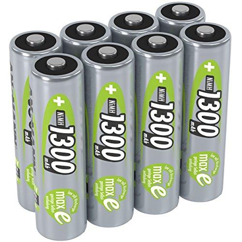 ANSMANN Akku AA Mignon 1300mAh 1,2V NiMH  - wiederaufladbare Batterien AA Akkus maxE (geringe Selbstentladung & vorgeladen) ideal für Solarlampe (8 Stück)