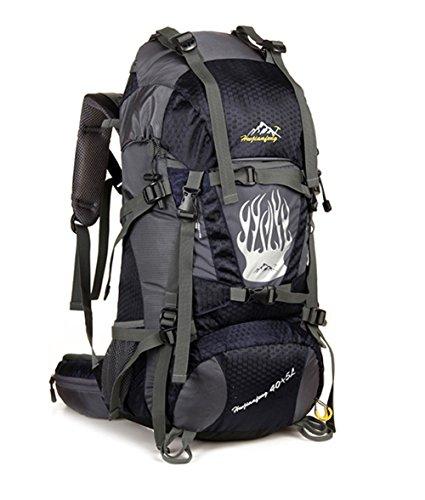 OSOPOLA Radsport Wander Zelten Wasserfest Sportreisen Rucksack Wandern Leicht Tasche Bergsteigen Hohe kapazität Tagesrucksack 60L Schwarz