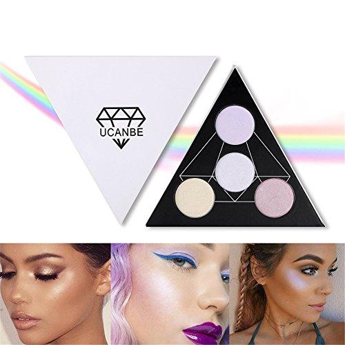 ROMANTICBEAR 4 Couleur Triangle Surligneur Palette Shimmer Poudre Illuminante Maquillage Satin Glow Kit Réorganiser Votre Visage Eye Couleur En Surbrillance Finition Alchimiste Holographique Palette (B)