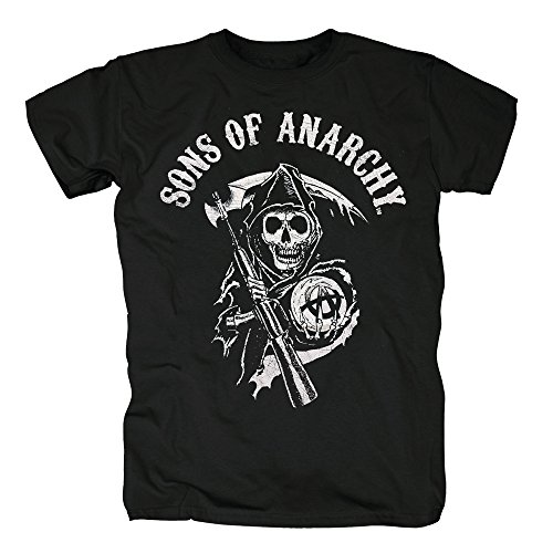 TSP Sons of Anarchy - Reaper Logo T-Shirt Herren S Schwarz (Sons Of Anarchy-kostüme Für Halloween)