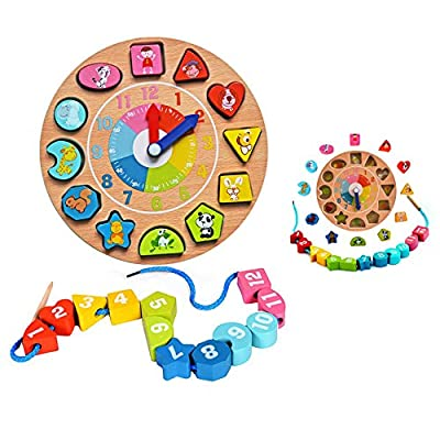 Itian Forma de Reloj de Madera de Clasificación + Hilo de las Cuentas de Madera, los Patrones Digitales y Animales, Apropiado para los Niños por Itian