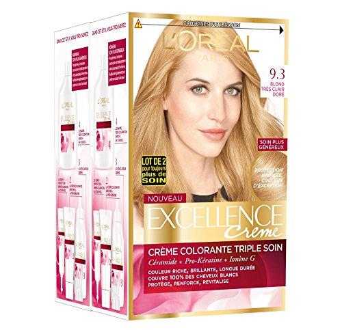 L'Oréal Paris - Excellence Crème - Coloration Permanente Triple Soin 100% Couverture Cheveux Blancs - Nuance 9,3 Blond Très Clair Doré - Lot de 2