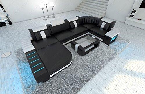 Canapé en cuir Bellagio forme U avec éclairage LED NOIR ET BLANC
