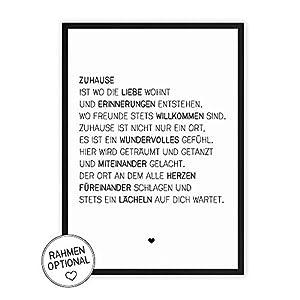 Zuhause & Familie - Kunstdruck auf wunderbarem Hahnemühle Papier DIN A4 -ohne Rahmen- schwarz-weißes Bild Poster zur Deko im Büro/Wohnung/als Geschenk Mitbringsel zum Geburtstag etc.