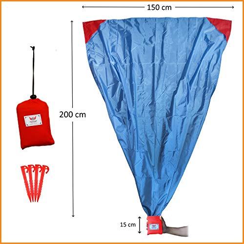 polaar XL Outdoor-, Picknickdecke und Stranddecke, Wasserdicht, Ultraleicht, 200 cm x 150 cm, in grau/rot, Kleines Packmaß - Ideal für Reisen und Camping (200 x 150 cm, mit Heringen)