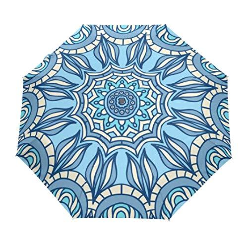 Blue Mandala Bohemian Pattern Umbrella Paraguas Plegable Completamente Automático