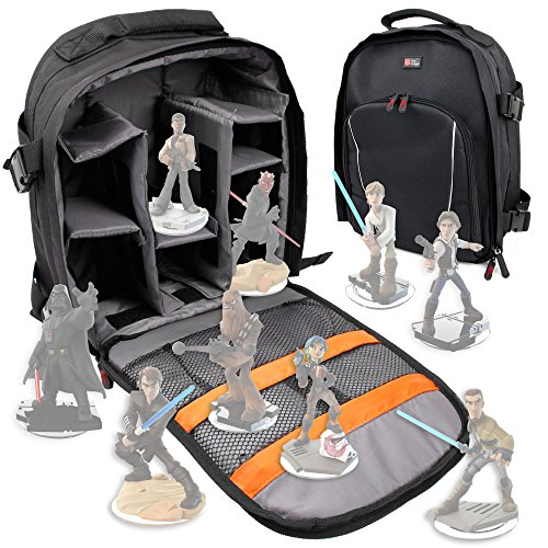 DURAGADGET Mochila Para Guardar / Organizar Las Figuritas Disney Infinity 3.0 - Star Wars - Incluye Funda Impermeable - Con Compartimentos