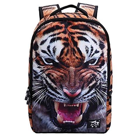 Panegy – Sac à dos cartable 3D Animaux Imprimer Daypack pour Garçons Filles Sac de Voyage/Camping/ école/ Randonnée/Hiking – Tigre