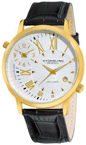 Stuhrling Original Uomo 343.33352 Symphony Eclipse Polaris Swiss Quartz Date and Dual Time Zone Gold Tone Orologio