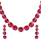 Ananth Jewels Women's Metal Swarovski Elements Crystal Necklace and Earrings, (Light Pink)