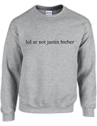 lol ur not justin bieber ~ JUSTIN BIEBER ~ GREY SWEATSHIRT ~ UNISEX SIZES S - XXL