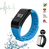 Fitness Tracker, F1 Smart Armband Armbanduhr Herzfrequenzsensor Smart Band Wireless Fitness Smart wctch Blut Druck Armbanduhr für Android iOS Handy, blau