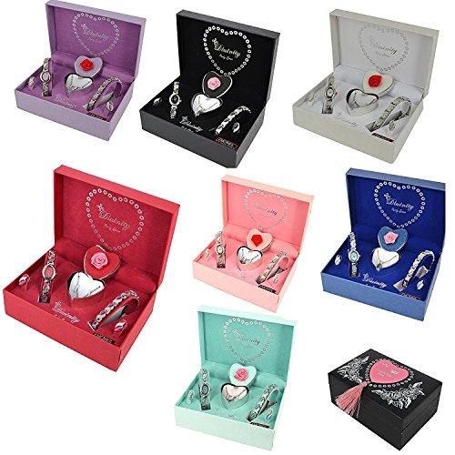 Coffret cadeau pour femmes - montre, boucles d'oreilles, bracelet et collier.