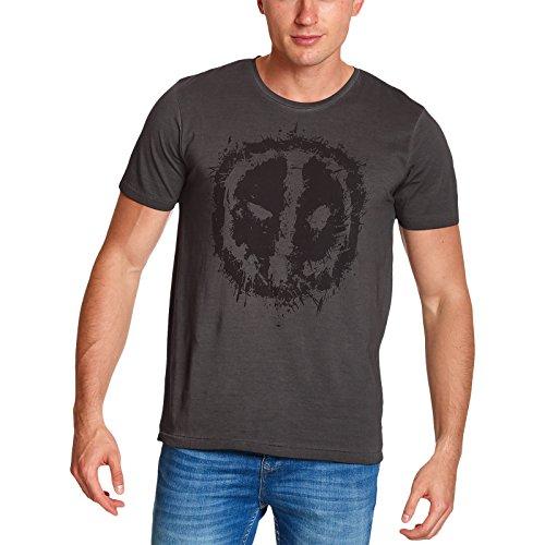 Deadpool para hombre de la camiseta de algodón gris Ojos Marvel - XL