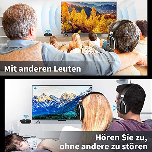 Artiste ADH300 Wireless TV Kopfhörer, 2.4GHz UHF/RF Over-Ear Digital Stereo Kopfhörer für TV, 100ft Distanz Sender Wiederaufladbare Ladestation - 8