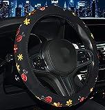 CAADDGY Nuovo coprivolante universale ricamato per auto 4 stile farfalla coccinella fiori ciliegia percoccinellaquattro stagioni