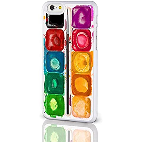 Artist Collection Phone Cases-Cover per Apple iPhone 8 cm. per pittura con acquerelli con tavolozza da colorare-Cover rigida per iPhone modelli dal iCaseDesigner, plastica, Paint Palette on a White Background, iPhone 5 / 5S