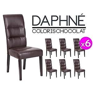Daphné - Lot 6 Chaises Marron