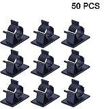 50 Stück Kabelhalter 3M Doppelseitige Klebstoff selbstklebende Kabelschelle, Schreibtisch Kabelhalter, Kabelführung für Zuhause Büro, Auto, PC, TV (01)