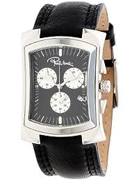 Roberto Cavalli Men's Tomahawk Chronograph Watch R7251900025 with Quartz Movement, Leather Bracelet and Black Dial