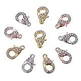 Nbeads 10pcs Couleurs mélangées en alliage Verre Strass fermoirs mousquetons, bijoux Fournitures, 21x 12,5x 7mm, trou: 2,5mm